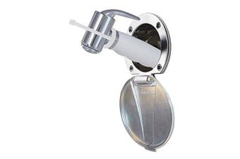 (Chrome) - Ambassador Marine Stainless Steel Lid/Plastic Cup Recessed Shower Kit with Hammer-Head White Sprayer and 1.8m Hose