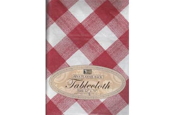 (Red Checkered) - Flannel Back Kitchen Tablecloth Multi Design & Colour Selection 130cm X 180cm Oblong 4-6 Seats Peva Table Cloth (Red Chequered)