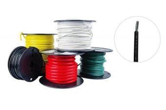 (30m, Black) - 8 AWG Marine Wire - Tinned Copper Boat Battery Cable - Available in Black, Red, Yellow, Green, and White - Made in the USA