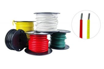 (7.6m Each Colour, Red & Yellow) - 8 AWG Marine Wire - Tinned Copper Boat Battery Cable - Available in Black, Red, Yellow, Green, and White - Made in the USA
