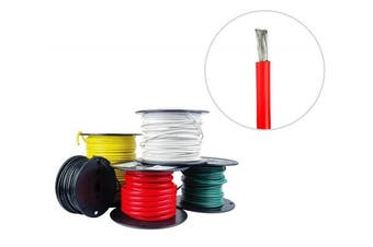 (7.6m, Red) - 6 AWG Marine Wire - Tinned Copper Boat Battery Cable - Available in Black, Red, Yellow, Green, and White - Made in the USA
