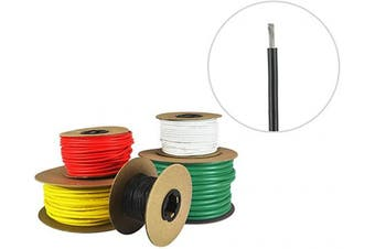 (15m, Black) - 16 AWG Marine Wire - Tinned Copper Primary Boat Cable - Available in Black, Red, Yellow, Green, and White - Made in the USA