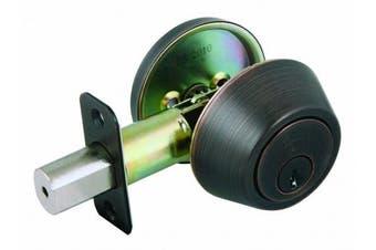 (Brushed Bronze) - Design House 702456 Single Cylinder 2-Way Latch Deadbolt, Adjustable Backset, Brushed Bronze Finish