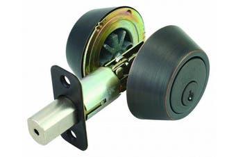 (Oil-Rubbed Bronze) - Design House 791673 Double Cylinder 2-Way Latch Deadbolt, Adjustable Backset, Oil Rubbed Bronze Finish