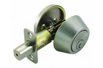 (Satin Nickel) - Design House 783589 Single Cylinder 2-Way Latch Deadbolt, Adjustable Backset, Satin Nickel Finish