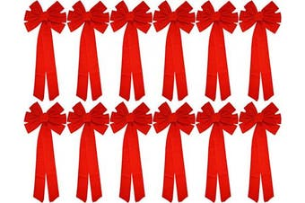 Black Duck Brand Set of 12 Christmas Red Velvet Bows 70cm Long 25cm Wide 10 Loop Holiday/Christmas Bow!