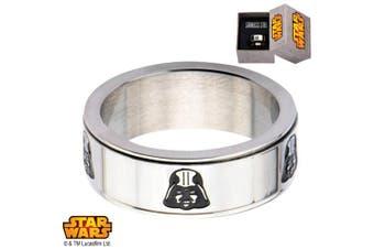 (12) - Disney Star Wars Men's Stainless Steel Darth Vader Spinner Ring, Sizes 8-12