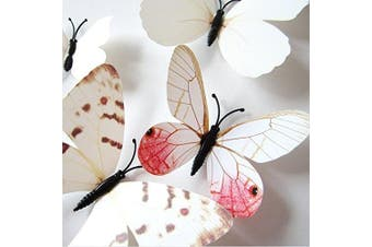 (White2) - Amaonm® 24pcs 3d Vivid Special Man-made Lively Butterfly Art DIY Decor Wall Stickers Decals Nursery Decoration, Bathroom Décor, Office Décor, 3d Wall Art, 3d Crafts for Wall Art Kids Room Bedroom