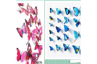 (Pink & blue) - Amaonm® 24pcs 3d Vivid Special Man-made Lively Butterfly Art DIY Decor Wall Stickers Decals Nursery Decoration, Bathroom Décor, Office Décor, 3d Wall Art, 3d Crafts for Wall Art Kids Room Bedroom