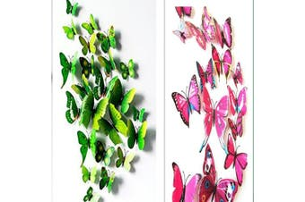 (Pink & Green) - Amaonm® 24pcs 3d Vivid Special Man-made Lively Butterfly Art DIY Decor Wall Stickers Decals Nursery Decoration, Bathroom Décor, Office Décor, 3d Wall Art, 3d Crafts for Wall Art Kids Room Bedroom