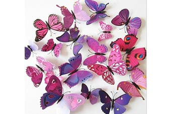 (purple) - Amaonm® 24pcs 3d Vivid Special Man-made Lively Butterfly Art DIY Decor Wall Stickers Decals Nursery Decoration, Bathroom Décor, Office Décor, 3d Wall Art, 3d Crafts for Wall Art Kids Room Bedroom