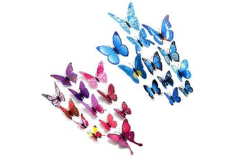 (Purple & Blue) - Amaonm® 24pcs 3d Vivid Special Man-made Lively Butterfly Art DIY Decor Wall Stickers Decals Nursery Decoration, Bathroom Décor, Office Décor, 3d Wall Art, 3d Crafts for Wall Art Kids Room Bedroom