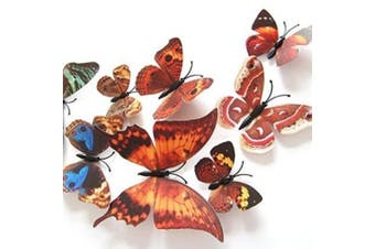 (Brown) - Amaonm® 24pcs 3d Vivid Special Man-made Lively Butterfly Art DIY Decor Wall Stickers Decals Nursery Decoration, Bathroom Décor, Office Décor, 3d Wall Art, 3d Crafts for Wall Art Kids Room Bedroom