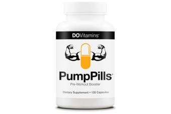 PumpPills Pre-Workout Booster - Vegan, Non-GMO, Caffeine-Free, Creatine-Free - 120 Capsules