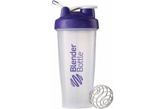 (Clear/Purple) - BlenderBottle 830ml Classic Shaker with Wire Whisk BlenderBall and Carrying Loop Purple