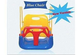 (Blue Chair) - Littlefun 3-in-1 Infant to Toddler Upgrade Swing Anti-flip Snug & Secure Detachable Children Outdoor Play Patio Garden Amusement Park Equipment Bonus Mini Cars Gifts(Colour:Blue Chair)