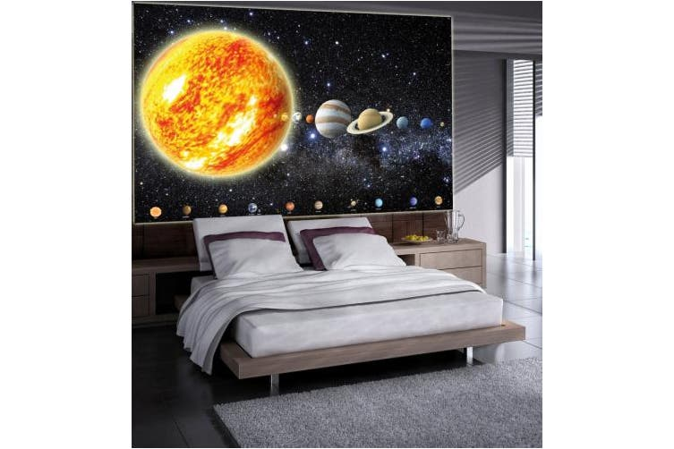 (140cm  x 100cm  – 1 piece) - Solar system with planets picture wallpaper - galaxy universe space wallpaper - stars sky moon earth - poster XXL wall decoration GREAT ART 140cm x 100cm