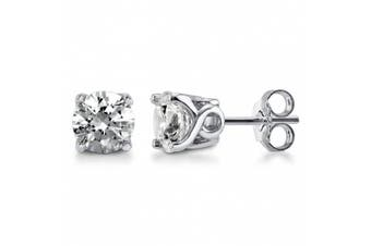 BERRICLE Sterling Silver with Round. Zirconia Solitaire Wedding Fashion Stud Earrings