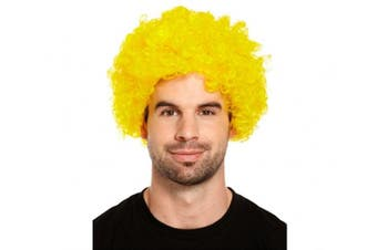 (Yellow) - Curly Afro Wigs Fancy Dress Funky Wig Disco Clown Mens/Ladies Unisex 11 Colours (Yellow)