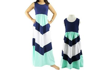 (Medium / 3T/4T, Navy Blue) - Wennikids Cotton Material Mommy and Me Chevron Maxi Dress