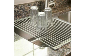 Roll-up Folding Drying Rack Silicone Coated Stainless Steel Over Sink Tray Grey(50cm x 33cm )