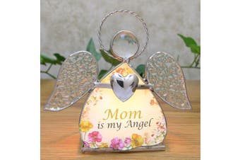 Glass Angel Candle Holder for Mom - Mom Is My Angel Printed on Front - Gifts for Mom - Mom Christmas Gifts - Mom Birthday Gifts