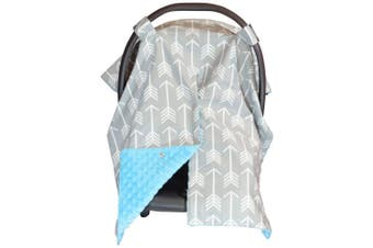 (Large, Arrows/ Blue Minky) - Premium Carseat Canopy Cover and Nursing Cover- Large Arrow Pattern w/ Blue Minky | Best Infant Car Seat Canopy, Boy or Girl | Cool/ Warm Weather Car Seat Cover | Baby Shower Gift 4 Breastfeeding Moms