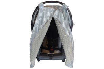 (Large, Arrows/ Grey Minky) - Premium Carseat Canopy Cover with Peekaboo Opening- Large Arrow Print with Grey Dot Minky | Best for Infant Car Seat, Boy or Girl | All Weather | Universal Fit | Baby Shower Gift | Newborn Decor