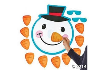 Pin the NOSE on the SNOWMAN Christmas HOLIDAY Party Game with BLINDFOLD & INSTRUCTIONS