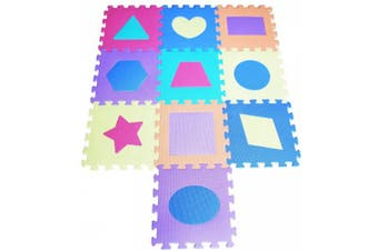 TLCmat® Soft Foam Play Mat Puzzle Jigsaw With Geometric Shape and Colour Pop-Out