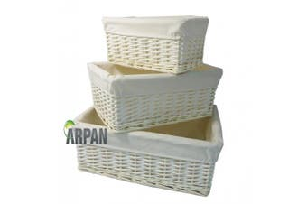 Arpan Set Of 3 New White Wicker Gift Hamper Storage Basket With White Cloth Lining