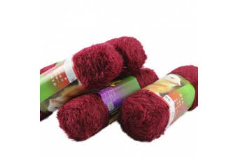 (Wine Red) - Celine lin One Skein Long-haired Fluffy Mink Cashmere Knitting Yarn,Wine Red