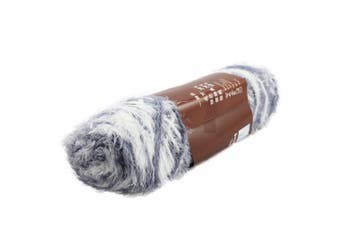 (Grey and White) - Celine lin One Skein Long-haired Fluffy Mink Cashmere Knitting Yarn,Grey and White