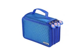 (Blue) - ZJchao 72 Count Slot Coloured Pencil Carry Case Bag Large Capacity Oxford Multi-layer Pencil Organiser with Cute Zipper(Blue)