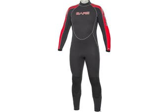 (Small, Night Red) - Bare 5mm Velocity Full Suit Super-Stretch Wetsuit, Men's
