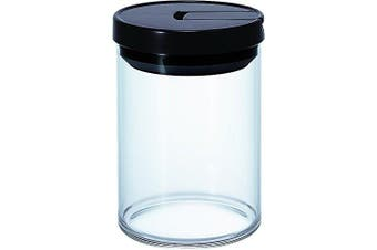 (Black, Standard) - Hario Glass Air Tight Coffee Container Canister Can MCN-200 MCN-300