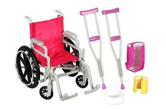 (wheelchairset) - Click n' Play Doll Wheelchair and Crutches Set, Perfect For 46cm American Girl Dolls