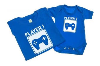(S - 6-12 Months, Blue) - Player 1 And Player 2 - Mens T Shirt With Short Sleeve Bodysuit Matching Gift Set