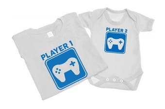 (M - 0-3 Months, White) - Player 1 And Player 2 - Mens T Shirt With Short Sleeve Bodysuit Matching Gift Set