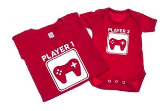 (L - 3-6 Months, Red) - Player 1 And Player 2 - Mens T Shirt With Short Sleeve Bodysuit Matching Gift Set