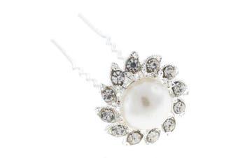 Classic White Pearl and Austrian Crystal Bridal Hair Bun Pin Slide