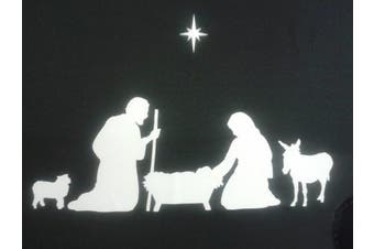 Nativity Christmas family window stickers including sheep, donkey and star