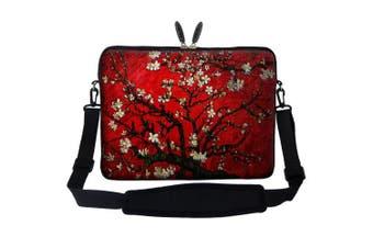 (Vincent van Gogh Cherry Blossoming) - Meffort Inc 17 44cm Neoprene Laptop Sleeve Bag Carrying Case with Hidden Handle and Adjustable Shoulder Strap - Vincent van Gogh Cherry Blossoming