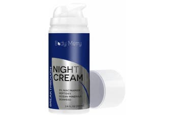 Night Cream for Face with 5% Niacinamide + Peptides + Ocean Minerals + Seaweed - Best Anti-ageing Moisturiser to Fight Wrinkles, Fine Lines & Spots - Natural & Organic for Men & Women - 100ml