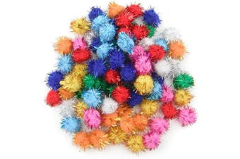 (20MM) - ALL in ONE Assorted Colour Glitter Sparkle Pom Poms for Craft DIY (20MM)