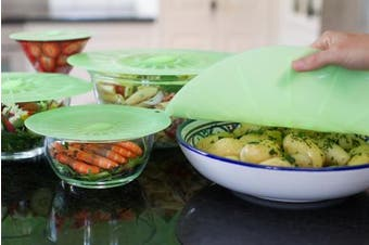 Bizanzzio Top On Flat Silicone Lids - Set of 5 (including an extra large 36cm lid) in Mint Green -Reuseable Super Suction Food Covers
