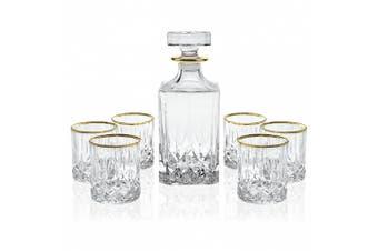 Elegant Manhattan Style Crystal Liquor Whiskey and Wine Decanter Set. Irish Cut 7 Piece Set 1 Decanter. 6 Old Fashioned High Quality 180ml DOF Glasses with 24k Gold Trim.