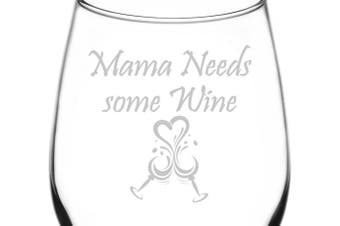 (Poetic & Funny Drunken Wine Quotes, Mamma Needs Some Wine) - (Mamma Needs Some Wine) Poetic & Funny Drunken Wine Quote Inspired - Laser Engraved 380ml Libbey All-Purpose Wine Taster Glass