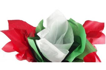 Red, Green & White Christmas Tissue Paper (Solid Colours) 120 Sheets Total