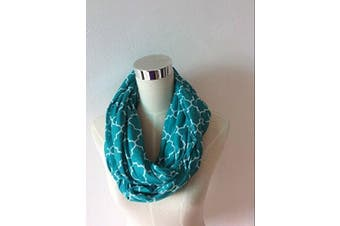 (turquoise/white quatrefoil) - Two-Sided Infinity Nursing Scarf & Cover for Breastfeeding Babies & Mothers. Softest, Most Stylish Way to Nurse Your Baby in Total Privacy. Premium Quality Nursing Cover Fits Plus-Sized Moms,Too